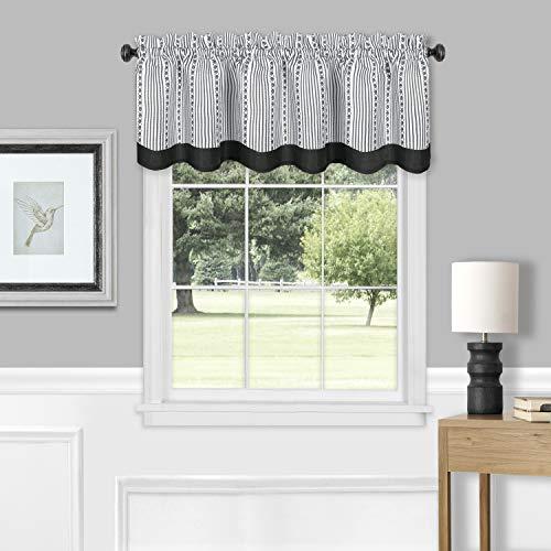 "Achim Home Furnishings, Black/White Westport Window Curtain Valance, 58""x14"",WEVL14BW12"
