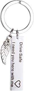 Adeeing Silver Keychains Drive Safe I Need You Here with Me Angel Wing DIY Chic Key Chain for Boys