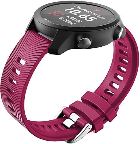 Correa de Reloj de Silicona Suave Compatible con Garmin Forerunner 245 / Forerunner 245 Music/Forerunner 645 Music, Repuesto Ideal (20mm, Pattern 7)