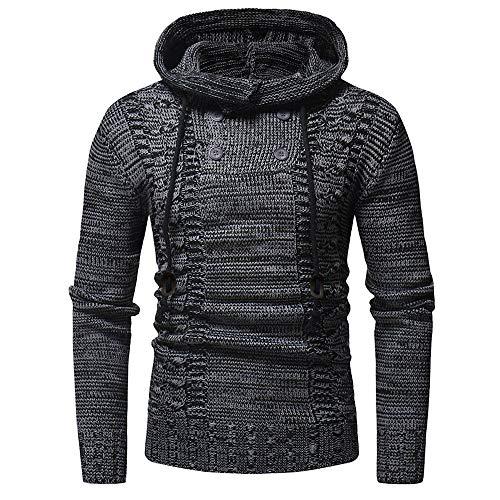 haoricu Autumn Winter Men's Pullover Knitted Sweater Cardigan Coat Long Sleeve Hooded Sweatershirt Black