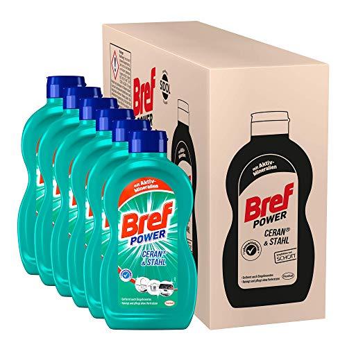 Bref Power Ceran & Stahl, Edelstahl Reinigungsmittel, 6 x 500 ml, gegen hartnäckigste Verschmutzungen