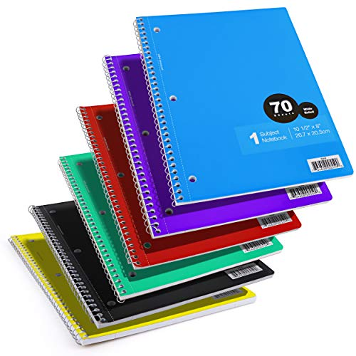 Emraw 1 Subject Spiral Notebook 70 Sheets Wide Ruled Wire Binding Meeting Notebook Durable Laminated Cover Assorted Color Wire Bound Small Notebook 3 Hole (Random 6-Pack)