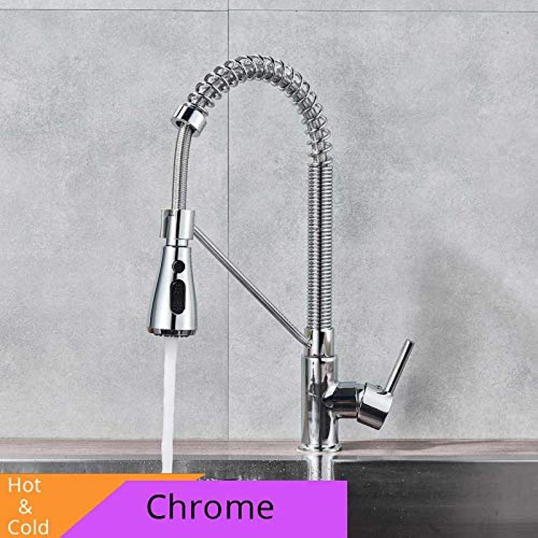 CZOOR Gebürstetem Nickel Küchenarmatur Einhand Bad Küchenarmaturen Spüle Wasserhahn Heies kaltes Wasser Kran für die Küche, Chrom