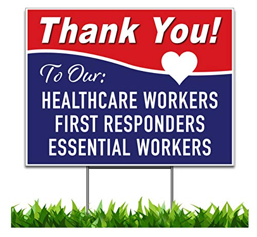 Moonlight4225 Thank You Stay Safe, Health Care, First Responders, Essential Workers, Yard Sign, Printed 2-Sided - 24 x 18 or 36 x 24, Wire H Stake Included, v7 Heart (1, 24 x 18)
