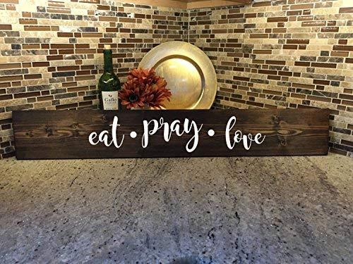 qidushop Plaque décorative en Bois Inscription Eat Pray Love Kitchen