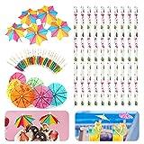 Sombrillas de Cóctel,100 varillas de papel para paraguas y 50 pajitas de papel de flamencos para decoración de bebidas púas de bambú natural para bares suministros para fiestas de cumpleaños