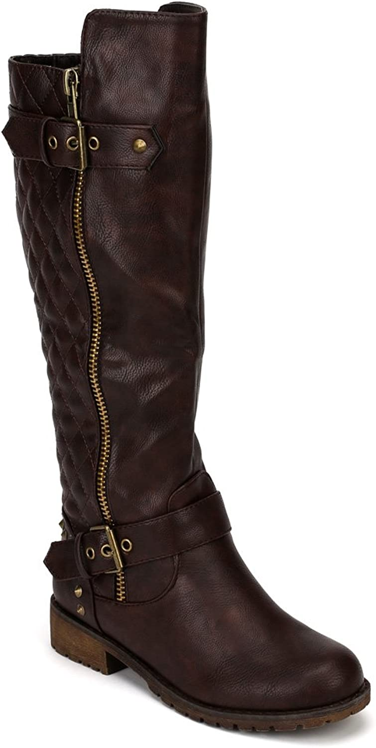 Nature Breeze Vivienne-01 Leatherette Quilted Knee High Riding Boot - Brown