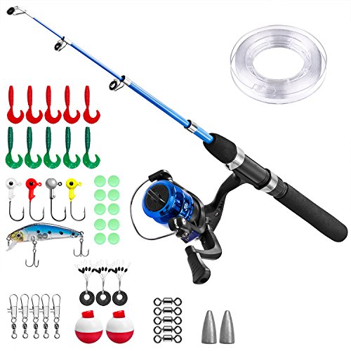 PLUSINNO Kids Fishing Pole,Light and Portable Telescopic Fishing Rod for Youth Fishing