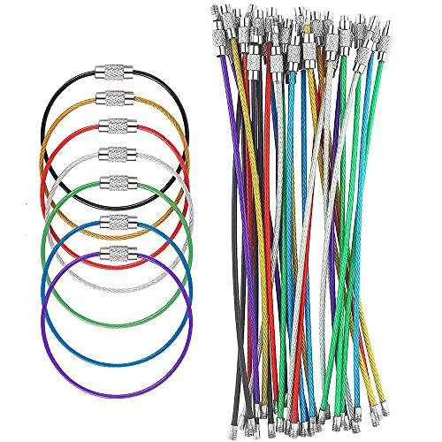 42 Stück Farbige Schlüsselanhänger Stahldraht, Edelstahl Keychain Kabel Draht Kabelschleifen, Schlangenkette Schluesselring Spiraldraht für hängende Gepäckanhänger, Schlüsselringe und ID Tag Wächter