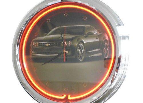 Neon Uhr Black Camaro Wanduhr Deko-Uhr Leuchtuhr USA 50's Style Retro Uhr Neonuhr
