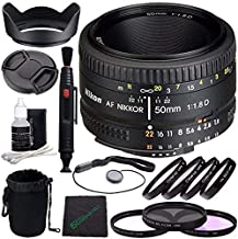 Nikon AF NIKKOR 50mm f/1.8D Lens + 52mm 3 Piece Filter Set (UV, CPL, FL) + 52mm +1 +2 +4 +10 Close-Up Macro Filter Set + Lens Cap + Lens Hood + Lens Cleaning Pen Bundle 2