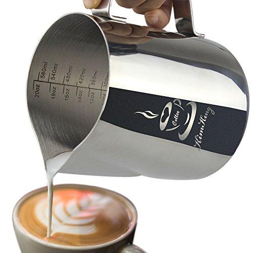 OneChois Milch Pitcher rostfreiem Edelstahl Milchkännchen perfekt für Milchaufschäumer Cappuccino Milchschaum Cafe Art Aufschäumkännchen(600ml)
