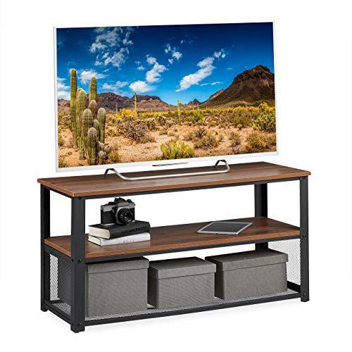 Relaxdays TV Bank, 3 Ablagen, Metall, Holzmaserung, für Wohnzimmer, Industrial, Couchtisch, HxBxT: 51x100x40 cm, braun