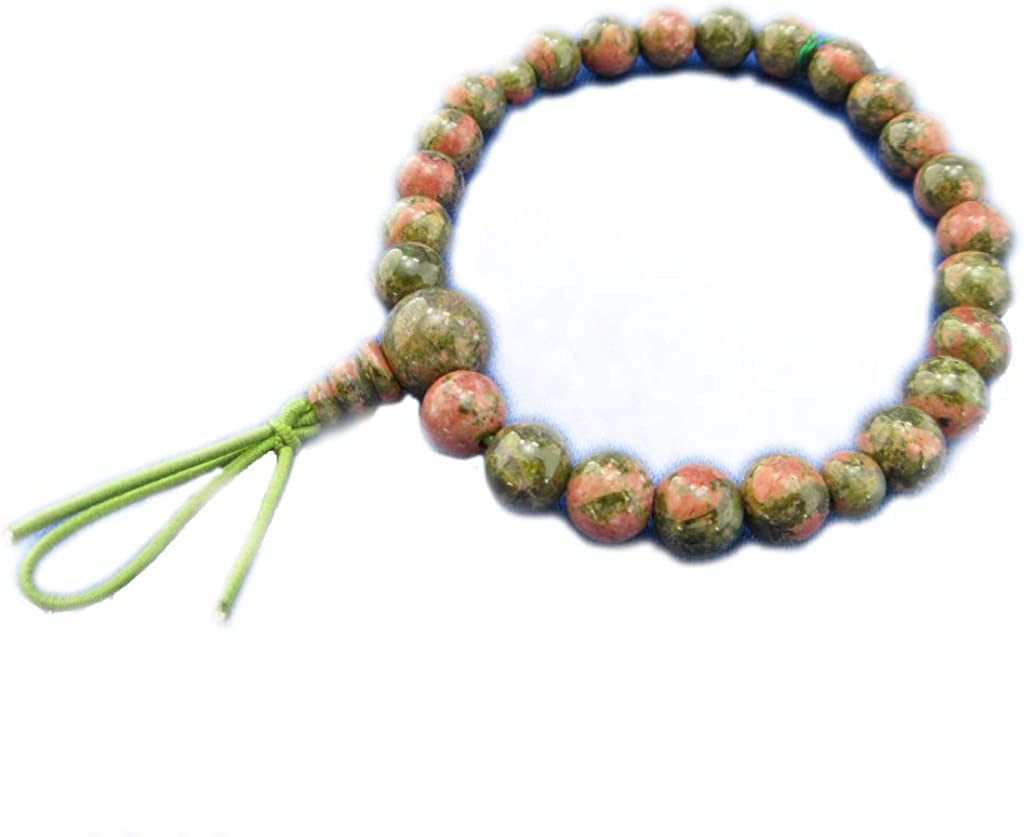 Epidote (Unakite) Gemstone Stretch Bracelet for Unisex Japanese