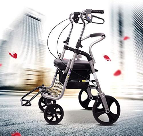 SPORETE Folding Mobility Rolling Walker mit Fußstützen, 4-Rad-Rollator Walker mit PU Sitz, Medical Heavy Duty Transport Stuhl Mobilität Rollator 3 höhenverstellbar, für Senioren,Silber