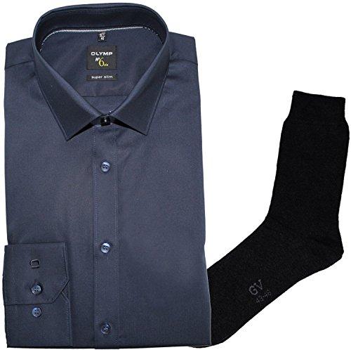 OLYMP Herrenhemd No6 six, super Slim, Urban Kent, dunkelblau + 1 Paar hochwertige Socken, B&le