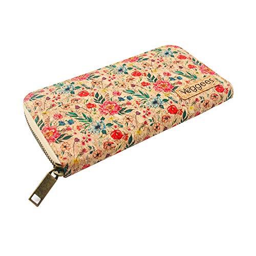 Florina - Kork Geldbörse für Damen Groß mit RFID Schutz - Vegane Wallet aus Korkleder - Geldbeutel und Portemonnaie mit Blumenmuster