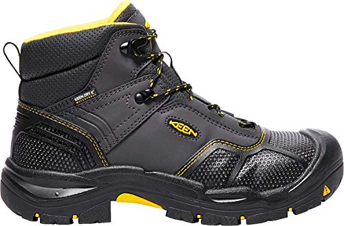 KEEN Utility mens Logandale (Steel Toe) Waterproof Work Boot, Raven/Black, 12D