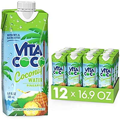 Vita Coco Coconut Water Naturally Hydrating Electrolyte Drink Smart Alternative to Coffee Soda and Sports Drinks Gluten Free, Pineapple, 16.9 Fl Oz (Pack of 12), 202.8 Fl Oz from Vita Coco