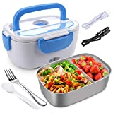 Electric Lunch Box for Car, Home, Office - 110V/12V 40W Portable Electric Food Warmer Heater Lunch Box With Food-Grade Stainless Steel Container, 1 Fork & 1 Spoon