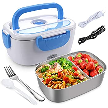 Electric Lunch Box for Car and Home Work Office - 12V 110V 40W Portable Food Warmer Heater Lunch Box for Men & Adults With Food-Grade Stainless Steel Container 1.5L 1 Fork & 1 Spoon