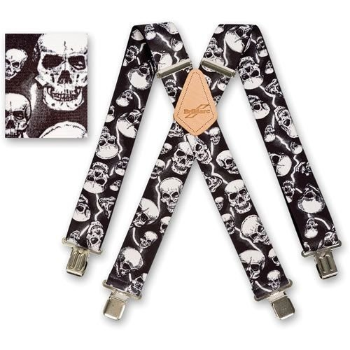Herren 50mm (5,1cm) breit Hosen unifarben Arbeit Heavy Duty Hosenträger Lightning Skulls