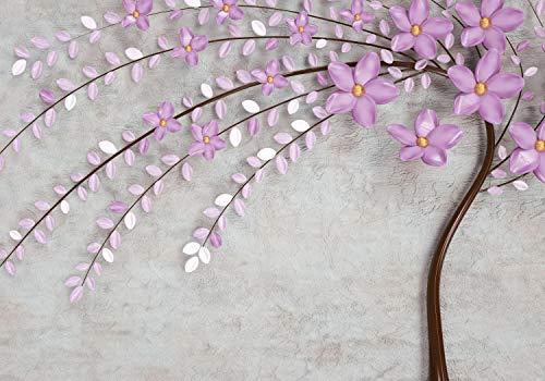 wandmotiv24 Fototapete Blumen Beton-wand , XXL 400 x 280 cm - 8 Teile, Fototapeten, Wandbild, Motivtapeten, Vlies-Tapeten, Baum, Lila, Blüten M1823