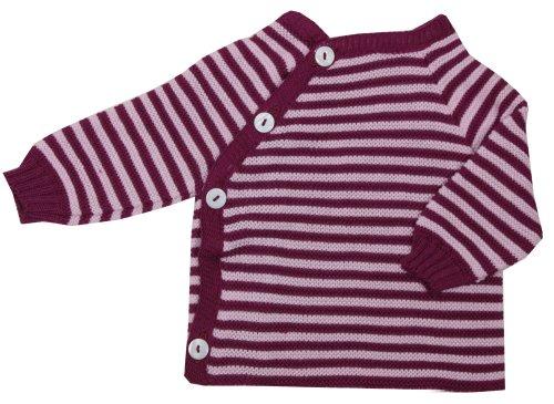 Reiff Strick Baby Schlüttli aus 100% Bio-Baumwolle geringelt (98/104, Beere/Rosa Geringelt)