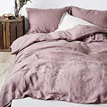 Simple&Opulence 100% Linen Duvet Cover Set with Coconut Button Closure Stone Washed - 2 Pieces (1 Duvet Cover & 1 Pillowca...