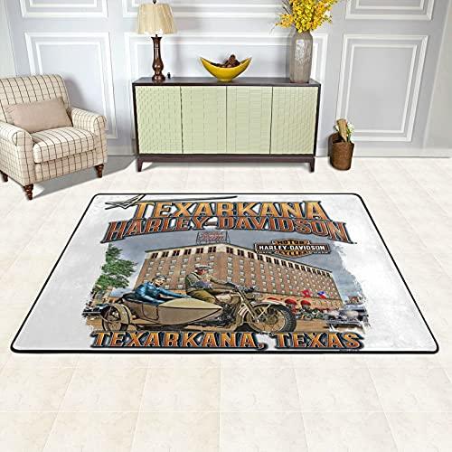 Cute Doormat Alfombra de salón grande Harley Davidson 91 x 61 cm, alfombra mullida para sala de estar, dormitorio y cocina, fácil mantenimiento