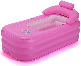 HEROTIGH Piscinas Hinchables Baño De Adultos Piscina Plegable Cuadrado Antideslizante Cálido Viaje A Casa De Color Rosa (Fondo De Esponja) Bañera Inflable Inflatable Pool Tub