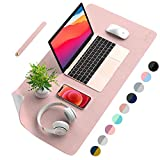 AFRITEE Desk Pad Protector Mat - Dual Side PU Leather Desk Mat Large Mouse Pad Waterproof Desk Organizers Office Home Table Decor Gaming Writing Mat Smooth (Rose Pink/Silver, 31.5' x 15.7')