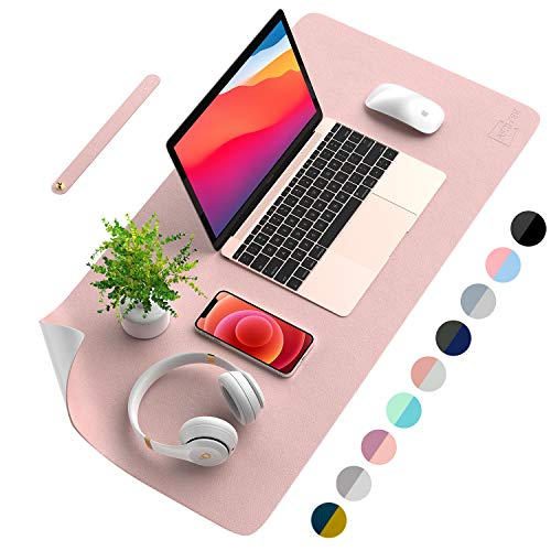 """AFRITEE Desk Pad Protector Mat - Dual Side PU Leather Desk Mat Large Mouse Pad Waterproof Desk Organizers Office Home Table Decor Gaming Writing Mat Smooth (Rose Pink/Silver, 31.5"""" x 15.7"""")"""