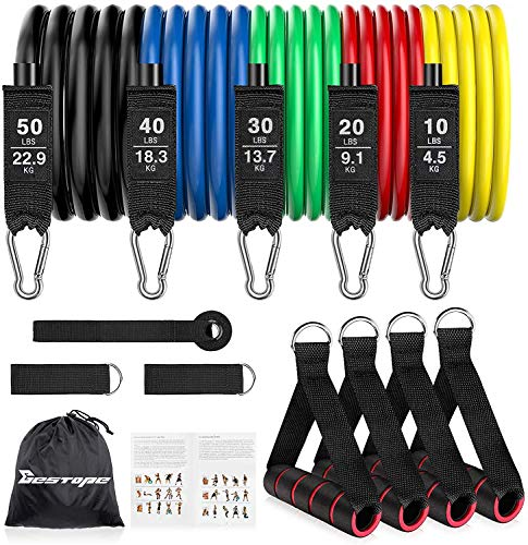 BESTOPE Resistance Bands Set Exercise Bands, Resistance Bands Set Men Workouts With 5 Fitness Tubes, 4 Foam Handles, 2 Ankle Straps, Door Anchor, Home Gym Equipment for Yoga Pilates Strength