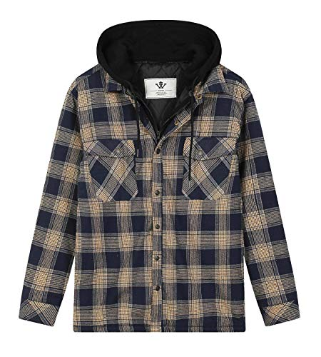 Shaka Wear Men's Plaid Shirts – Flannel Hooded Long Sleeve Casual Button Up Fleece Soft Quilted Lined Hoodie Jacket FFJ1302 Royal/Blk M