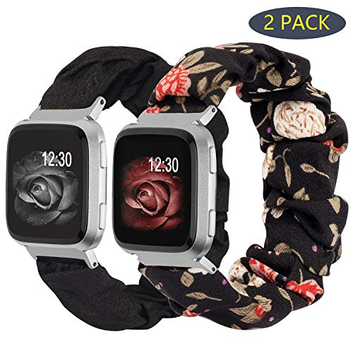 TOYOUTHS 2-Pack Compatible with Fitbit Versa/Versa 2 Bands Scrunchie Elastic Versa Lite Special Edition Wristband Cloth Fabric Cute Stretchy Scrunchy Bracelet Women (Black+Red Floral, Large)