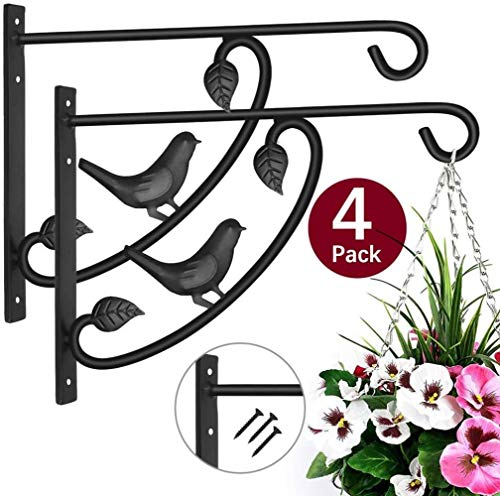 Sgualie Hängende Korbhalterungen Pflanzenhaken 4er Pack Metall Outdoor Gartenwandhaken für Laternen Schmiedeeisenhalterung für Pflanzgefäß Blumenhänger Vogelhäuschen Zaun