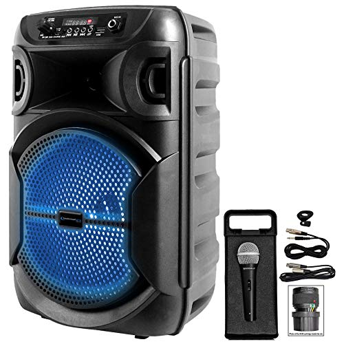 Fantastic Prices! Technical Pro Rechargeable 8 LED Karaoke Machine System w/Bluetooth+Microphone