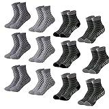 MOCOCITO 12 Paar Sneaker Socken Herren und Damen | Atmungsaktive Baumwoll Socken | Gestreifte Socken 35-40