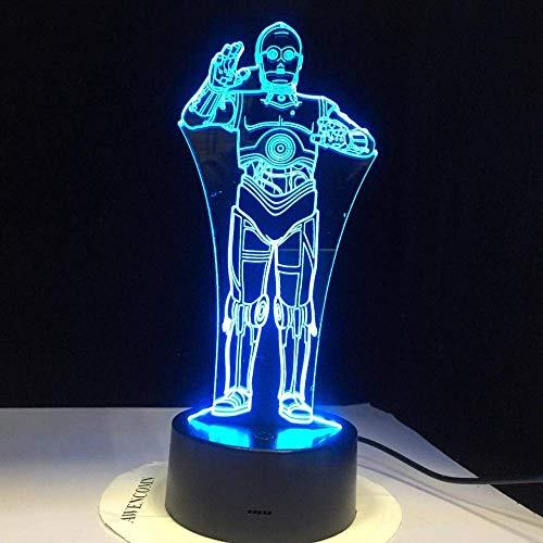 Luz de ilusión 3D Luz de noche LED Stormtrooper R2-D2 Robot Star Wars Master Darth Vader Lámpara de mesa para bebé de dibujos animados