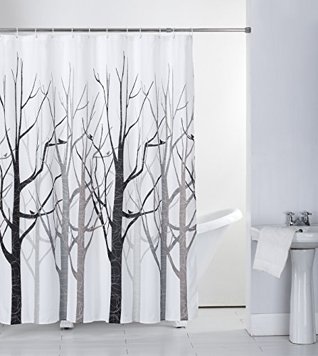 Shower Curtain Fabric Grey Tree with Hooks Bath Curtain...