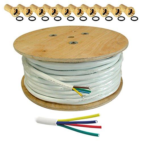 10m HB DIGITAL Quattro-Kabel Koaxial SAT 4-Fach Kabel Weiß 4-in-1 für Ultra HD 4K DVB-S / S2 DVB-C und DVB-T / T2 BK Anlagen + 10 vergoldete F-Stecker Set Gratis dazu (Quattro, Quad Kabel)
