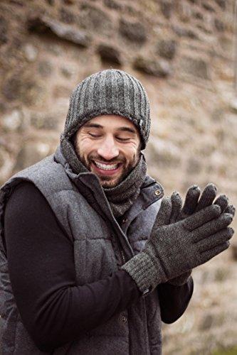 HEAT HOLDERS – Herren Thermische Winter-Vlies-Kabel Wollmütze, Nackenwärmer und Handschuhe gesetzt (L/XL, Schwarz) - 5