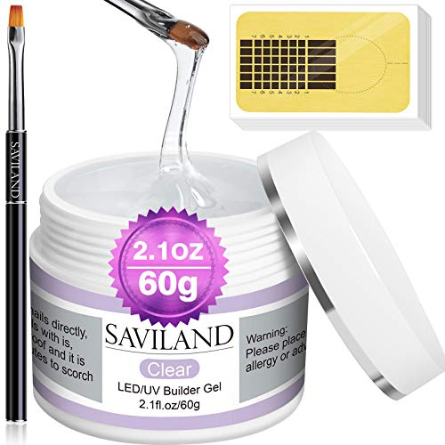 Saviland Builder Gel Nail Kit - 60g Clear Nail Extension Gel Set Nail Strengthen Nail Art Manicure Set with 100PCS Nail Forms and Acrylic Nail Brush for Beginners