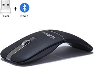 NORMIA RITA Foldable Arc Wireless Mouse Silent Click Bluetooth 2.4GHz Dual Modes Portable Curved Mouse for Home, Office, Travel