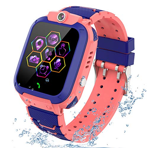 "Kids Smartwatch GPS Tracker Phone - 2020 New Waterproof Children Smart Watches with 1.4"" Touch Screen SOS Phone Call Talkie Walkie Pedometer Fitness Sports Band for Boys Girls Age 4-12 (Pink)"