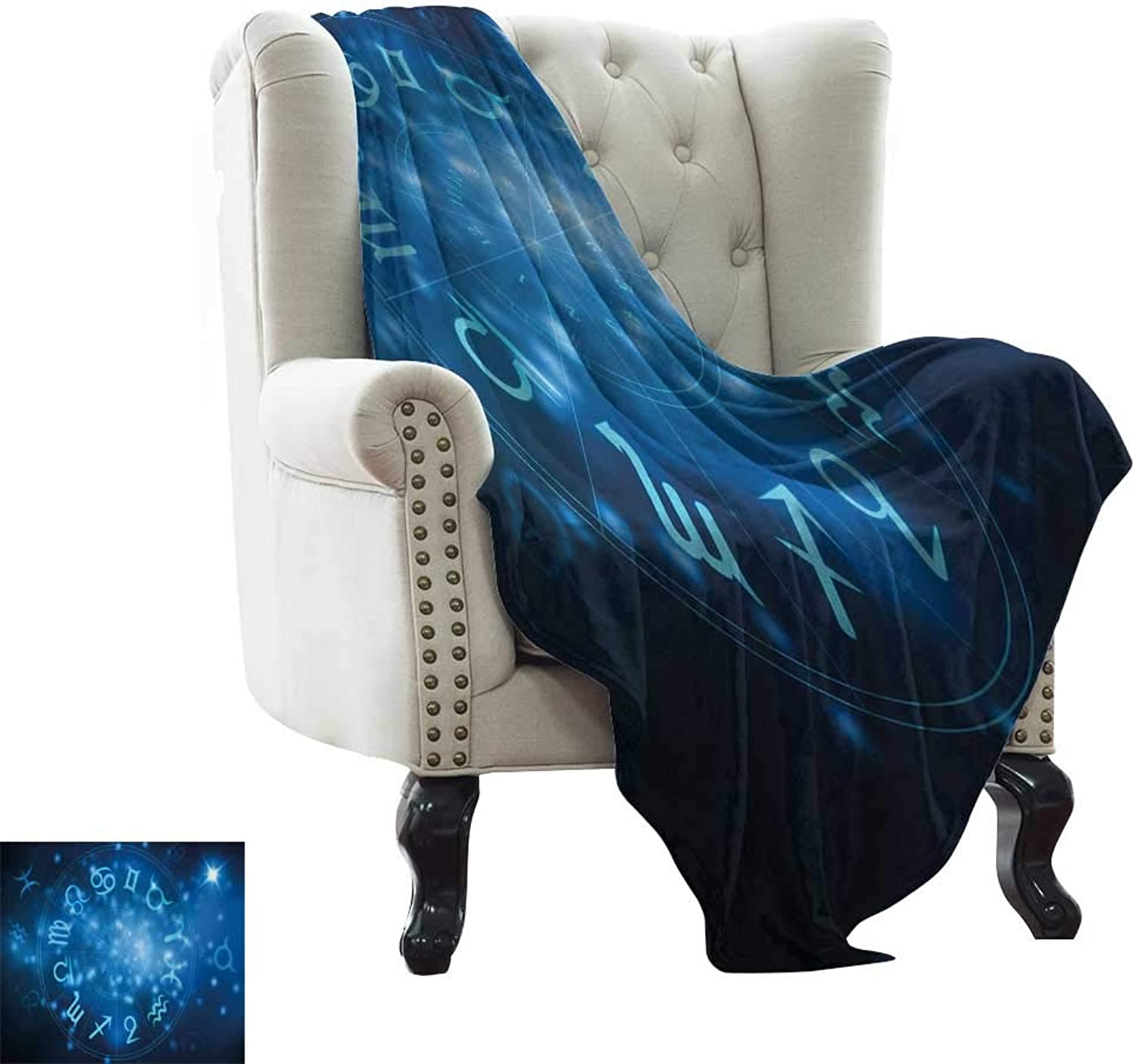 Furry Blanket Astrology,Abstract Hgoldscope Wheel with Signs Aquarius Lion Taurus Libra,Navy bluee White and Sky bluee Weighted for Adults Kids, Better Deeper Sleep 50 x60