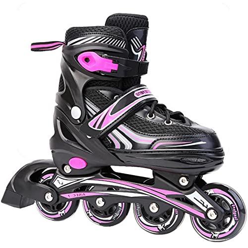 XIUWOUG Herren Damen verstellbare Inliner Inlineskates,ABEC-7 Chrome Kugellager,Größe 30-42 Unisex Fitness Skates für Erwachsene Rädern Rollschuhe für Jungen Mädchen Anfänger,Rosa,L (39~42)