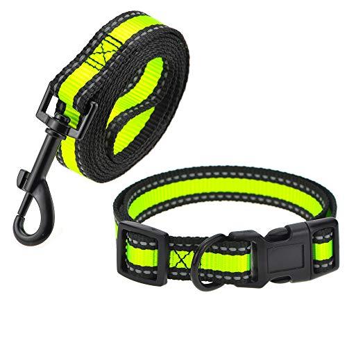 Mile High Life | Reflektierendes Hundehalsband-Leinen-Set | Kleines Hundehalsband | Mittleres Hundehalsband | Verstellbares Halsband Leinenset (LimeGreen2, Mittlerer Halsumfang 33-43,2 cm – 18,1 kg)