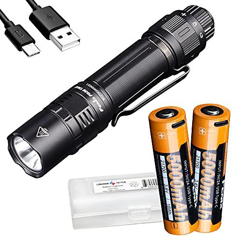 Fenix PD36 TAC 3000 Lumen EDC Tactical Flashlight Bundle with Two 5000mAh USB-C Rechargeable Batteries and LumenTac Organizer
